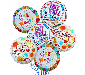 'Get Well!' Balloon Bouquet (6 mylars)