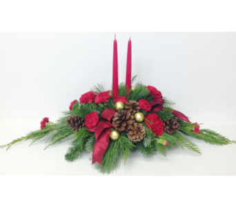 Traditional Two-Candle Christmas Centerpiece in Wyoming MI, Wyoming Stuyvesant Floral
