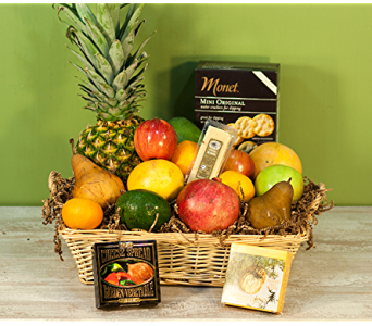 Fruit basket with cheese and crackers in Merrick NY, Feldis Florists