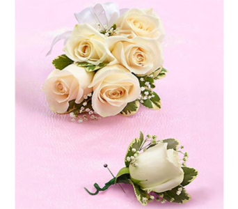 White Rose Corsage & Boutonniere in Indianapolis IN, George Thomas Florist