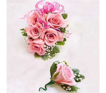 Pink Rose Corsage & Boutonniere in Indianapolis IN, George Thomas Florist