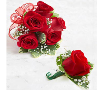 Red Rose Corsage & Boutonniere in Indianapolis IN, George Thomas Florist