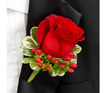 Red Boutonniere in Indianapolis IN, George Thomas Florist
