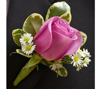 Purple Rose Boutonniere in Indianapolis IN, George Thomas Florist