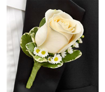 White Rose Boutonniere in Indianapolis IN, George Thomas Florist