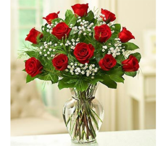 Red Roses & Babies Breath in Indianapolis IN, George Thomas Florist