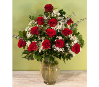 Feldis Premium Roses With Babies Breath in Merrick NY, Feldis Florists