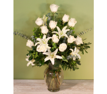 White Roses and Lilies in Merrick NY, Feldis Florists