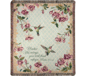 Hummingbirds - Ruby's Among Fuchsias Woven Throw in Tipp City OH, Tipp Florist Shop