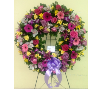 Pink, Yellow, and Purple Wreath in Somerset NJ, Flower Station
