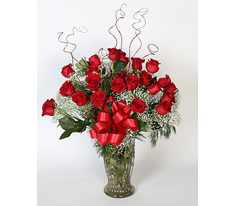 2 Dz Red Roses Vased in Southampton PA, Domenic Graziano Flowers