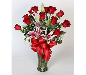 1 DZ Red  Roses w/ Star Gazer Lillies Vased in Southampton PA, Domenic Graziano Flowers