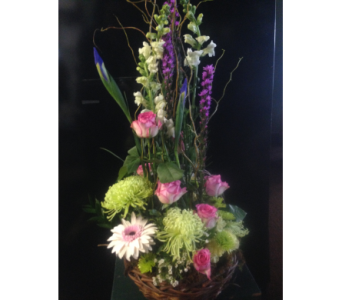 PURPLE GARDEN BASKET in Missouri City TX, Flowers By Adela