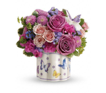Ceramic Butterfly Container in Cocoa FL, A Basket Of Love Florist