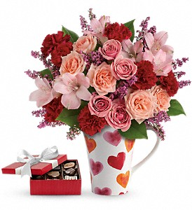 Lovely Hearts Bouquet with chocolates in Athens GA, Flower & Gift Basket
