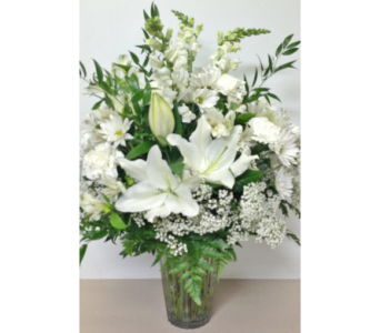 Pure White Large 10 inch Vase- Designed All-Around in Wyoming MI, Wyoming Stuyvesant Floral