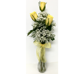 Trio Yellow Rose Budvase in Wyoming MI, Wyoming Stuyvesant Floral