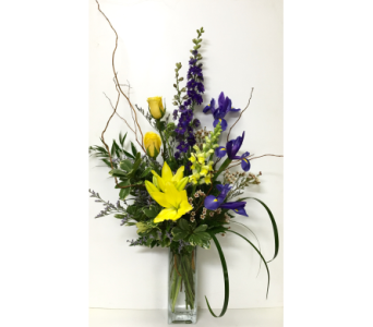 Yellow & Purple in 8 inch Vase - One-Sided in Wyoming MI, Wyoming Stuyvesant Floral