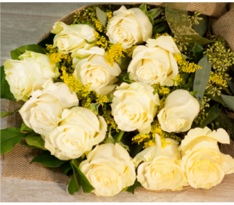 White Mondail Rose Bouquet in Merrick NY, Feldis Florists