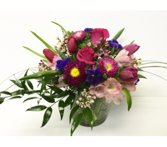 Spring Bouquet w/Tulips 5x5 Cylinder- All Around in Wyoming MI, Wyoming Stuyvesant Floral