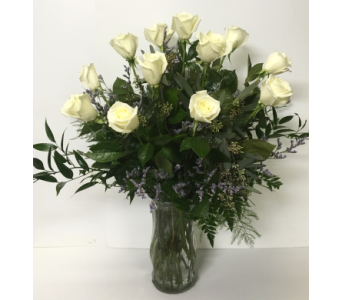 Dozen Long-Stem White Roses with Caspia in Wyoming MI, Wyoming Stuyvesant Floral