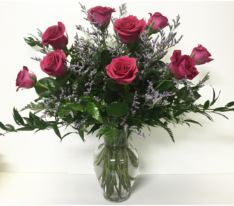Dozen Long-Stem Hot Pink Roses with Caspia in Wyoming MI, Wyoming Stuyvesant Floral