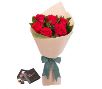 6 Red Roses Wrapped in Toronto ON, Simply Flowers