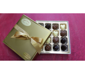 Gold Box Belgium Truffles & Cheesecake Hearts in Markham ON, La Belle Flowers & Gifts