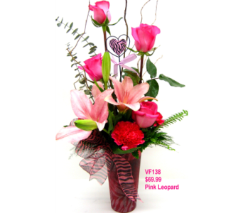VF138 Pink Leopard Sweetheart Bouquet in Oklahoma City OK, Array of Flowers & Gifts