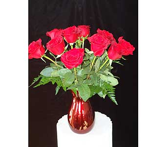 12 Roses Vased in Kent OH, Richards Flower Shop