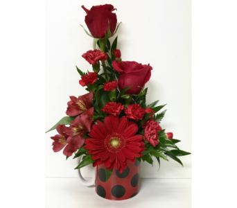 Polka Dot Mug Arrangement - Designed One-Sided in Wyoming MI, Wyoming Stuyvesant Floral