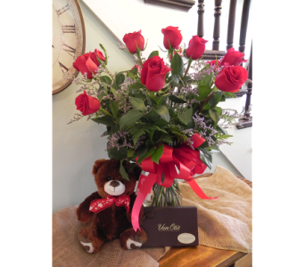 Classic Roses with Bear and Chocolates in Westfield MA, Flowers by Webster