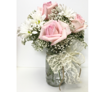 Vintage Valentine - Mason Jar- Designed All-Around in Wyoming MI, Wyoming Stuyvesant Floral