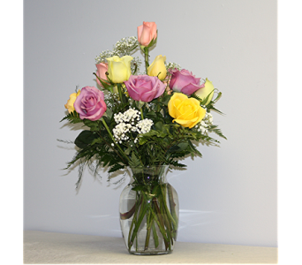Dozen Short Stem Colored Roses in Lewistown PA, Deihls' Flowers, Inc