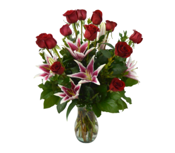 Premium Lily & Rose Vase in Schofield WI, Krueger Floral and Gifts