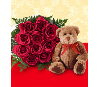 12 Red Roses w/Teddy in Miramichi NB, Country Floral Flower Shop