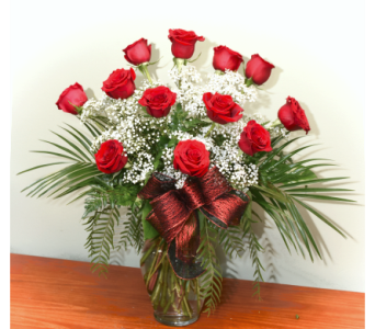 Premium Long Stem Red Rose Dozen & Premium Greens in Aliso Viejo CA, Aliso Viejo Florist