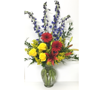 Sentiments of Summer-11 inch Garden Vase-One-Sided in Wyoming MI, Wyoming Stuyvesant Floral