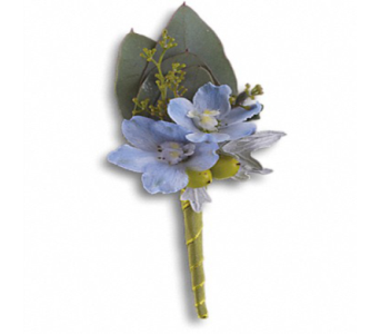Hero's Blue Boutonniere in Indianapolis IN, George Thomas Florist