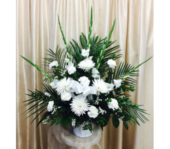 Custom Traditional Funeral Basket in Orange CA, Main Street Florist