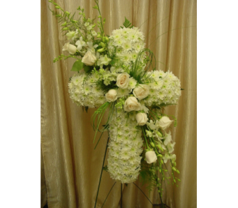 Custom White Cross in Orange CA, Main Street Florist