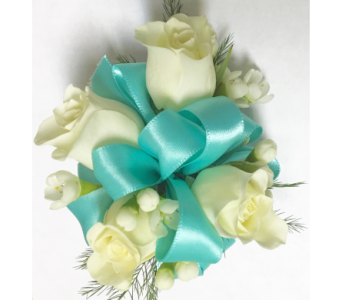 Tiffany Blue & White Roses Child's Wrist Corsage in Wyoming MI, Wyoming Stuyvesant Floral
