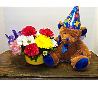 BIRTHDAY BEAR  in Claremont NH, Colonial Florist