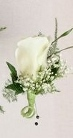 single white rose boutonniere  in Sitka AK, Bev's Flowers & Gifts