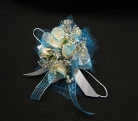 4 white mini rose with blue spray and glitter in Sitka AK, Bev's Flowers & Gifts