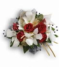 Beautiful white orchid and mini red rose corsage  in Sitka AK, Bev's Flowers & Gifts