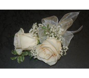 Cream Roses Corsage in Scarborough ON, Helen Blakey Flowers