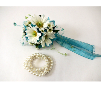 White Daisy Wrist corsage in Bloomington IL, Forget Me Not Flowers