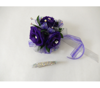 Purple Lisianthus Wrist Corsage in Bloomington IL, Forget Me Not Flowers