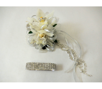 Mini Cymbidium Wrist Corsage in Bloomington IL, Forget Me Not Flowers